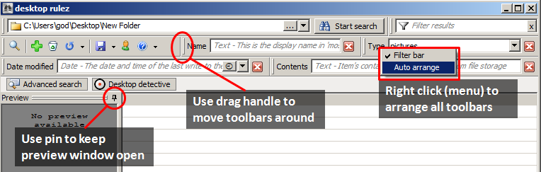 deskrule toolbar manipulation