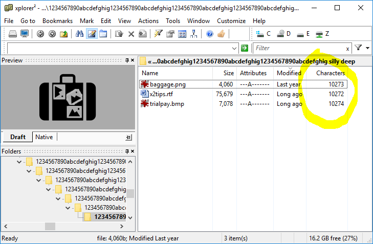 xplorer2 browsing into a folder with 10000 character length