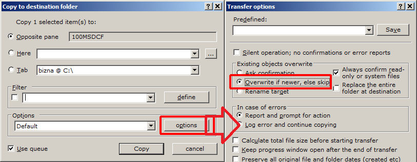overwrite control to restart failed copy operation