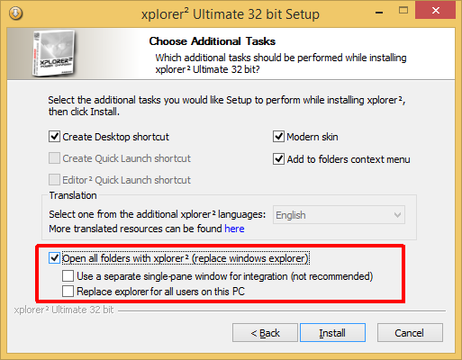 option to replace explorer during installation