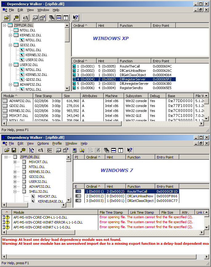 zipfldr.dll exports in XP and win7