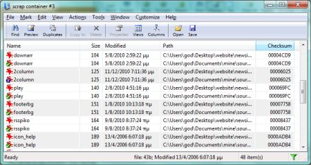 duplicates detector: identical files grouped in bands